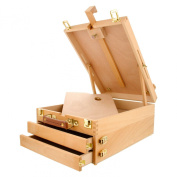 US Art Supply GRAND CAYMAN Extra Large 2-Drawer Wooden Sketchbox Easel