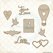 Blue Fern Studio Chipboard 2 Hearts Set
