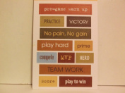 *Athletes and Sports* Words Two Sided Embossed Stickers