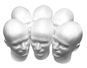 Styrofoam Male Mannequin Head 28cm Tall 50cm Head Circumference - 6 Heads