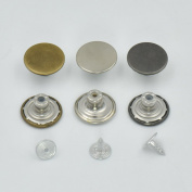 "100 PCS 17mm 0.67"" Look Inside Fine Jean Tack Snap Button Stud Rivet NO-SEW Black"