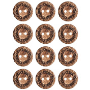 1Mibo Real Coconut Laser Etched Floral Pattern 2 Hole Button Assorted Size & Colour Packs Brown 15 mm 12-Pack