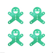 Green Self Adhesive 30mm Ginger Bread Man Christmas Glitter Sticker card making craft decoration