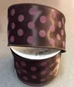 Chocolate And Pink Polka Dotted 6.4cm X 10 Yards Roll of Ribbon
