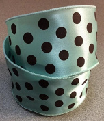 Mint And Chocolate Polka Dotted 6.4cm X 25 Yard Roll of Ribbon