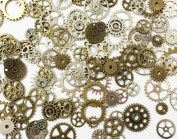 JGFinds 100 Pc Mixed Antiqued 2 Colour Gears Wheels - Watch Findings, DIY Crafts, Jewellery Making, Steampunk Charms, 1cm-4cm