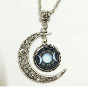 Moon Necklace Glass Art Picture Triple Goddess Pendant, Wiccan Jewellery, Moon Goddess Jewellery, Wiccan Necklace Charm