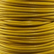 """#22 Yellow Round Leather Cord 2mm (3/32"""") x 10 m"""