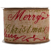 JAM Paper® - Natural Brown Merry Christmas Wire Edged Ribbon (6.4cm x 10 yards long) - Sold Individually