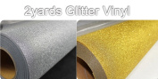 2yards Glitter Vinyl For Heat Press Transfer T-shirts Silver and Gold