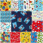 15 DR. SEUSS Fat Quarters Robert Kaufman Precut Fabric Cotton Quilting FQs Assortment Dr Seuss