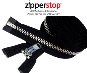 ZipperStop Wholesale YKK® - Chaps Zipper (Special Custom Length) YKK® #10 Extra Heavy Duty Aluminium Separating Colour BLACK