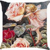 Cushion cover throw pillow case 46cm fairy angel rose flower garden fantasy paradise cute both sides image zipper