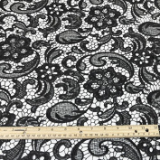 Venice Embroidered Black Lace Fabric for Wedding Lace Bridal Elegant Dress Fabric by the Yard
