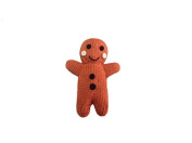 Estella Hand Knit Organic Gingerbread Man Rattle Baby Toy