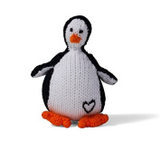 Estella Hand Knit Organic Penguin Rattle Baby Toy