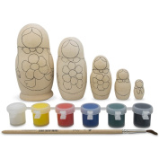 11cm Set of 5 Unpainted Wooden Blank Russian Nesting Dolls with Paints DIY Crafts