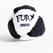Zeekio- The Fury Footbag -8 Panel Hand Stitched Leather -Sand Fill- Black and White