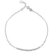 14K White Gold Tiny Running Beads Chain Bracelet