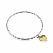 WithLoveSilver Sterling Silver 925 Hanging Gold Heart Love Bangle Bracelet