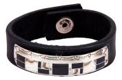 Navajo Native American Dolomite and Black Jade Leather Bracelet