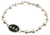Delta Delta Delta Black Antiqued Sterling Silver Sorority Tin Cup Pearl Bracelet Jewellery