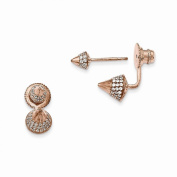 Jewellery Best Seller Sterling Silver Rose Gold-plated CZ Convertible Back Earrings