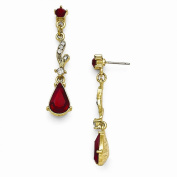 Best Designer Jewellery Gold-tone Downton Abbey Red & Clear Glass Post Earrings