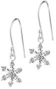 Sterling Silver CZ Simulated Diamond Snowflake Dangle Earrings for Women