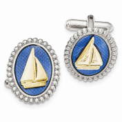 Perfect Jewellery Gift Silver and Gold-tone Blue Enamel Sailboat Cuff Links