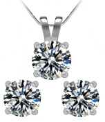 1 1/2 Ctw Diamond Solitaire Earring and Necklace Set in 14k White Gold