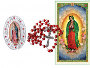 OUR Lady of Guadalupe Marbled Rosary Includes Jewellery Case with Image of Our Lady of Guadalupe Blessed Prayer Card English or Spanish Blessed By HIS Holiness