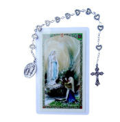 Our Lady of Lourdes Silver Plated Chaplet Includes a Prayer Card Blessed By His Holiness Pope Francis