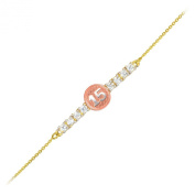 14k Tri-Colour Sweet 15 Anos Quinceanera Gold CZ Bar Bracelet 18cm With 1.3cm Extension
