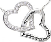 """ALOV Jewellery Sterling Silver """"my dear wife love holds our hearts together"""" Double Love Heart Pendant Necklace Birthday Christmas Anniversary Valentine's day Gift For Wife"""