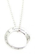 "Sterling Silver ""I love you, I love you more"" Message Ring Pendant 46cm Necklace Gift"