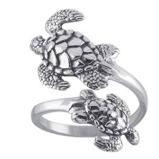 Sea Turtles Sterling Silver Ring Sea Turtle Adjustable Bypass Nautical Nature Ocean Jewellery