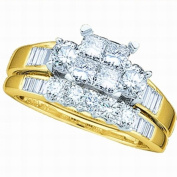 10K Yellow Gold .53ct Diamond Ladies Bridal Wedding Ring set. Centre Setting is 4 Invisible Set Princess Cut stones matching Wedding Band Size - 7