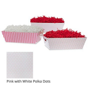 Large Valentine Gift Tray Basket - Pink with White Polka Dots