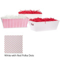 Medium Valentine Gift Tray Basket - White with Red Polka Dots