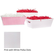 Medium Valentine Gift Tray Basket - Pink with White Polka Dots
