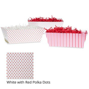 Small Valentine Gift Tray Basket - White with Red Polka Dots