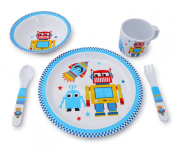 Culina Kids Melamine Dinnerware - Robot. Set of 5