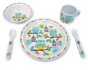 Culina Kids Melamine Dinnerware - Owl. Set of 5