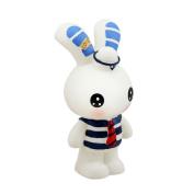 Baidecor PVC Stripe Blue Rabbit Money Box Piggy Bank