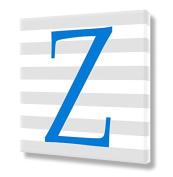 "Stretched Canvas Print Blue Letter ""Z"" Monogram Letters Nursery Wall Art VWAQ-159Z"