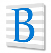 "Stretched Canvas Print Blue Letter ""B"" Monogram Letters Nursery Wall Art VWAQ-159B"