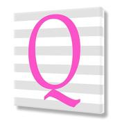 "Stretched Canvas Print Pink Letter ""Q"" Monogram Letters Nursery Wall Art VWAQ-160Q"