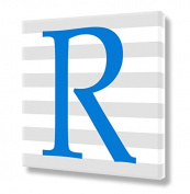 "Stretched Canvas Print Blue Letter ""R"" Monogram Letters Nursery Wall Art VWAQ-159R"