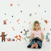 Dnven (160cm w X 80cm h) Happy Animals Rabbits Owls Snails Mouse Butterflies Bear Peel and Stick Removable Vinyl Wall Stickers Decals for Kids Room Children Rooms Nursery